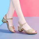 魚口鞋 2021年夏季新款時尚中跟魚嘴女鞋一字扣帶涼鞋女仙女風粗跟媽媽鞋 風尚
