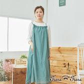 【Tiara Tiara】百貨同步  領口皺褶吊帶洋裝(藍/綠/黑)