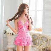 粉紅蕾絲澎裙後綁帶二件式睡衣 女衣閨蜜萌萌《生活美學》