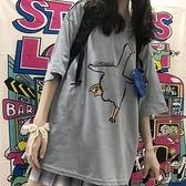 半截袖女2021學生短袖t恤上衣韓版寬鬆情侶潮ins慵懶原宿風BF韓國 【快速出貨】YYP
