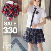 SISI【E8031】現貨學院制服風翻領開襟短袖襯衫上衣+格紋百褶短裙套裝組角色扮演