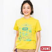 CHUMS 日本 女 輕量棉 Print 短袖T恤 萊姆綠 CH111124M014