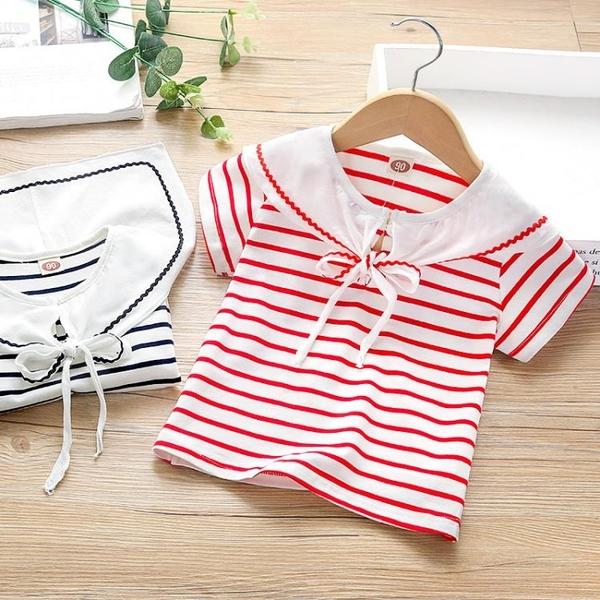 夏季短袖T恤新款可愛女童風翻領上衣兒童條紋t恤 茱莉亞
