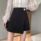 秋季設計感不規則黑色a字半身裙女2020新款顯瘦高腰氣質時尚短裙 潮人