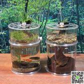 創意圓柱形桌面魚缸小型烏龜缸帶曬台爬蟲飼養盒透明壓克力造景箱 igo摩可美家