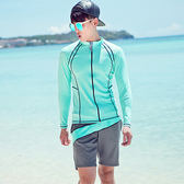男泳裝 線條 沙灘 運動 防曬 外套 兩件套 男 長袖 泳裝【SFM2115】 icoca  05/17