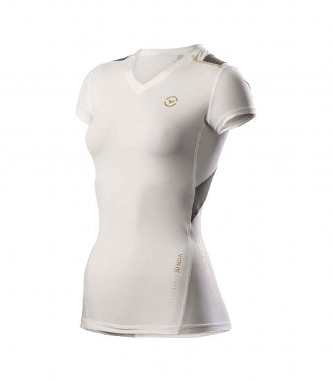【免運送手機臂套】VIRUS 美國百樂仕 慢跑/登山/打球/健身 女子短袖V領X-型生物能緊身衣 EAu11X
