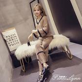 韓版初秋季女套裝新款針織俏皮寬鬆休閒褲女神網紅港風兩件套 范思蓮恩