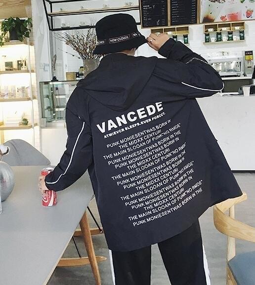 FINDSENSE Z1 韓國 時尚 潮 男 暗黑 後背字母印花 連帽外套 學生