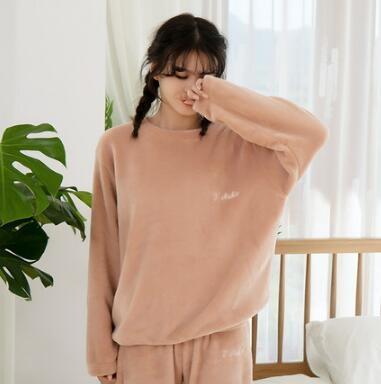 情侶睡衣 冬季加絨加厚法蘭絨睡衣女保暖可愛珊瑚絨加大碼睡衣套裝女【快速出貨八折搶購】
