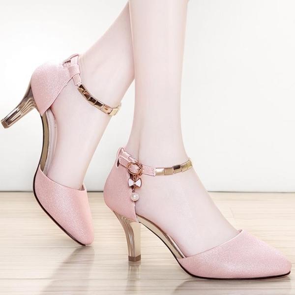 高跟鞋女細跟粗跟扣帶裸色淺口