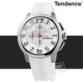 Tendence 天勢表 / TY016002 / 圓弧鏡面 三眼計時 日期 礦石強化玻璃 防水100米 矽膠手錶 白色 46mm