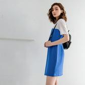 《KS0663-》網布拼接撞色透氣純棉運動休閒長版上衣/洋裝 OB嚴選