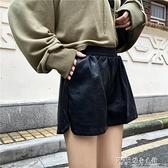 現貨皮褲女短褲春秋款外穿高腰小個子a字潮ins寬鬆闊腿褲pu皮短褲 探索先鋒