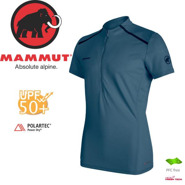 【MAMMUT Atacazo Lt Zip Tsh 男/L《冠藍鴨》】1017-00090-50011/長毛象/UPF 50+/Power Dry/登山健行衫/短袖排汗衣