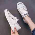 小白鞋.百搭休閒綁帶線條拼接平底帆布鞋....