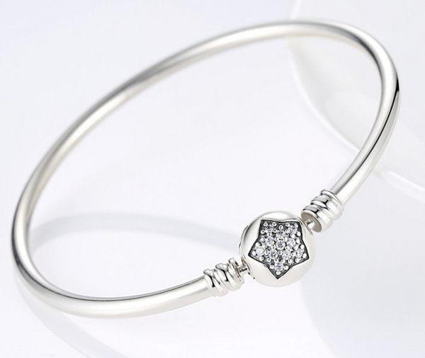 【免運】S925純銀 星星鑲鑽手鐲 硬環 手環 手練 可DIY自行串吊飾 基本款手練 流行 素面 素色 個性