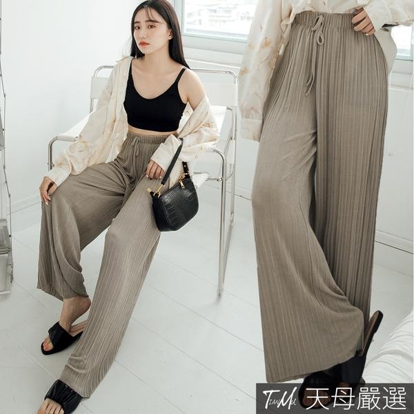 【天母嚴選】微光澤綁帶壓褶落地褲(共二色)