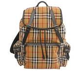 【BURBERRY】The Rucksack Vintage格紋大型軍旅背包(駝色) 4077392 7045B
