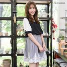 短裙--高雅氣息夢幻宣言腰間活摺下擺拼接蕾絲後拉鍊短裙(黑.灰XL-5L)-Q70眼圈熊中大尺碼◎
