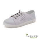 休閒鞋 真皮縷空後踩小白鞋(藍)*hukuyu【18-839b】【現+預】