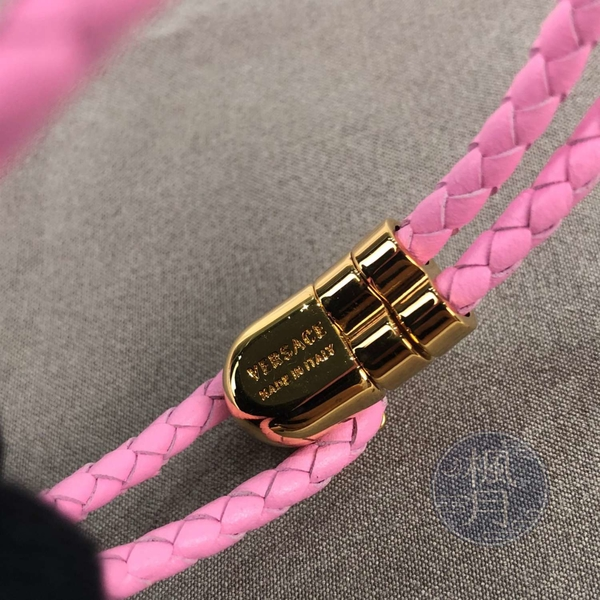 BRAND楓月 VERSACE 凡賽斯 粉色 女王頭 編織 雙環 手環 配件