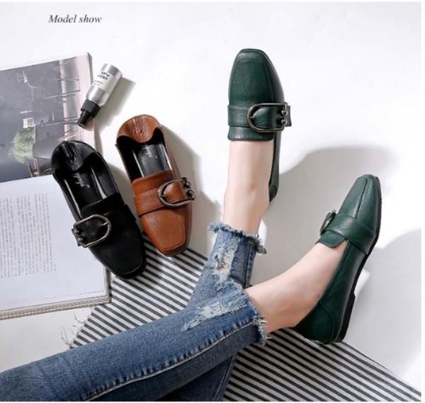Dingle丁果大尺碼ღ舒適寬楦好穿套腳方頭平底鞋四季鞋*3色
