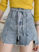 女性牛仔短褲 毛邊不規則牛仔短褲女新款寬鬆褲子顯瘦韓版 珍妮寶貝
