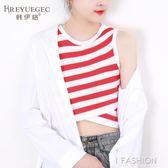 2018夏裝新款韓版撞色條紋不規則修身針織衫無袖背心短款打底衫女-Ifashion