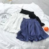 夏季新款韓版小清新純色雪紡半身裙高腰顯瘦百褶防走光短裙褲女 秘密盒子