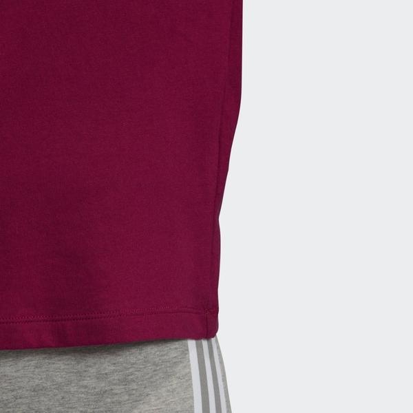 ADIDAS 3-STRIPES 女裝 短袖 棉質 針織 運動 休閒 撞色 三線 酒紅【運動世界】GD2443