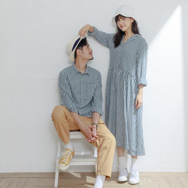 Queen Shop【01023882】配色藍格紋單口袋長袖襯衫 S/M/L/XL*現+預*
