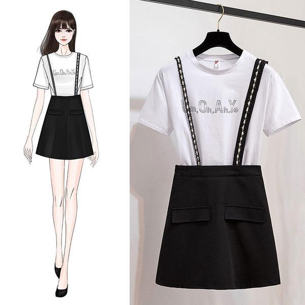 VK旗艦店 韓系時尚短袖T恤釘珠背帶裙套裝短袖裙裝