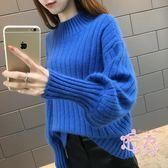 2018早秋女裝新品正韓寬鬆時尚半高領燈籠袖針織打底衫套頭毛衣 1件免運