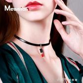 韓國版性感項圈鎖骨鍊女個性口紅吊墜項鍊簡約短款choker頸鍊頸帶 小確幸生活館