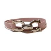 Salvatore Ferragamo 費拉格慕 粉紅色牛皮 皮革手環Lather Bracelet 【BRAND OFF】