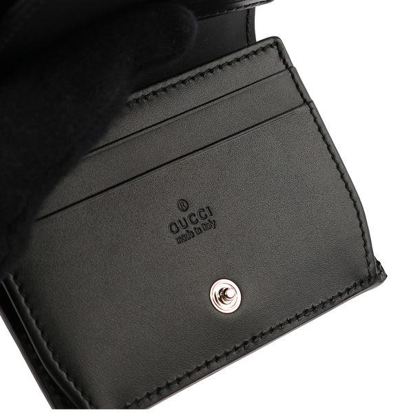 【GUCCI】牛皮壓紋小錢包/卡夾/名片夾(黑色) 386862 CWC1N 1000