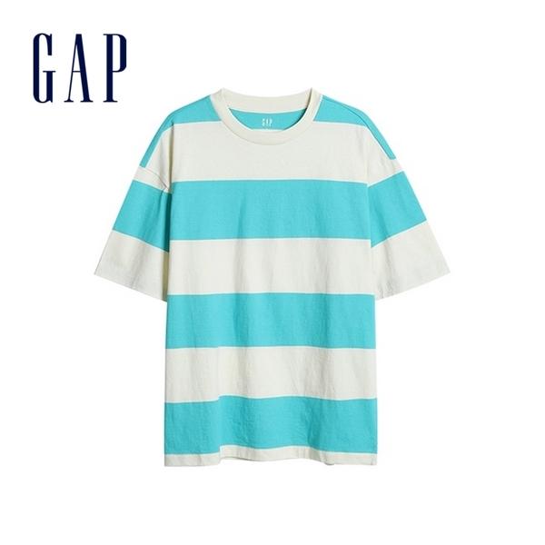 Gap男裝 舒適圓領條紋短袖T恤 532455-藍白條紋