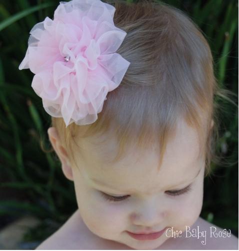 【美國Chic Baby Rose】髮夾 / 造型髮飾 - 雪紡玫瑰花小公主髮夾 (共5色) 美國手工製造