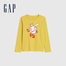 Gap男童 全棉創意印花圓領長袖T恤 664152-黃色