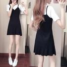 洋裝 2019夏季新款正韓學生洋裝中長款魚尾裙子女夏裝假兩件套潮