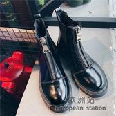 馬丁靴女英倫風百搭短靴女尖頭切爾西靴「歐洲站」
