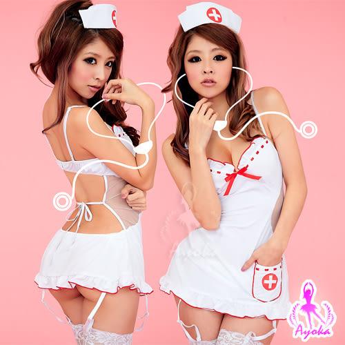 情趣用品 女性商品 美背式連身護士服五件組(情趣洋裝+丁字褲+護士帽+吊襪帶+網襪)角色扮演服