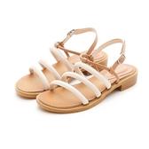 MICHELLE PARK 度假時光 異國風情拚色線條涼鞋-米