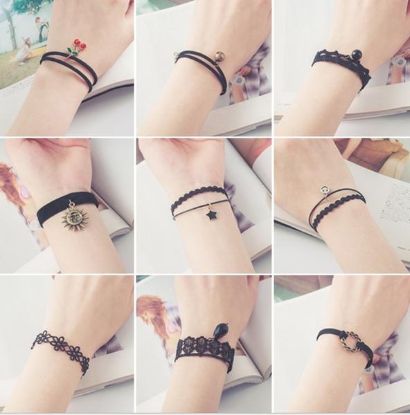 King*Shop~日韓復古手飾編織絨帶蕾絲簡約多層情侶女手鏈歐美韓版飾品手串