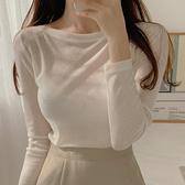 韓國東大門新品 簡約一字領親膚柔軟薄款性感微透長袖T恤女
