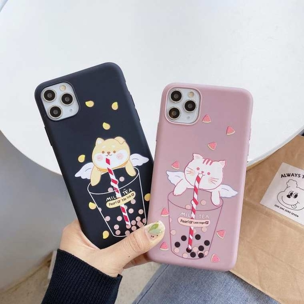 奶茶貓狗 iPhone 12 mini iPhone 12 11 pro Max 情侶手機殼 卡通手機套 全包邊軟殼 TPU矽膠殼 保護殼套