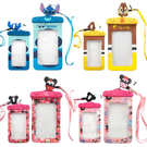 【Disney 】5吋通用可愛繽紛手機防水袋(附夾子捲線器耳機塞)