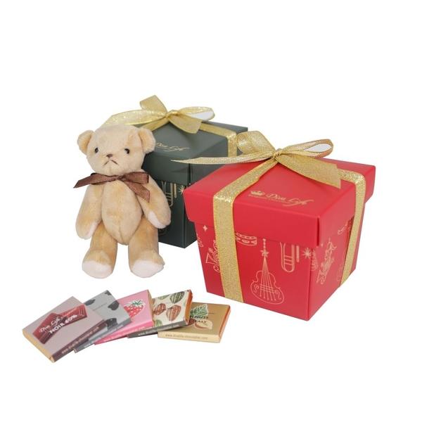 【Diva Life】聖誕禮物熊禮盒 4入 雙包裝(比利時純巧克力)