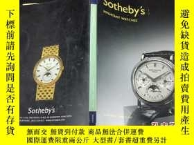 二手書博民逛書店sotheby s罕見important watches, ho